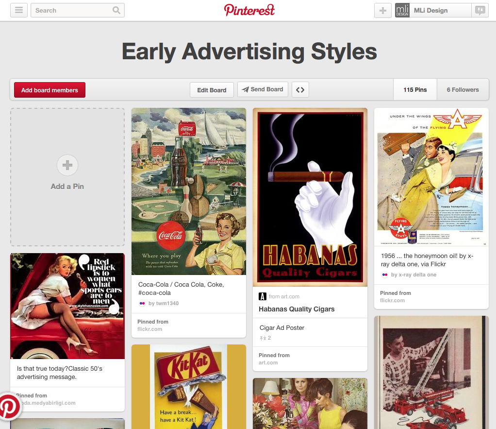 Early Ad Styles - MLi Design Pinterest Site